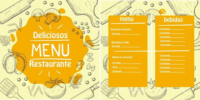 Plantilla de menú de restaurante  para diseño gratis