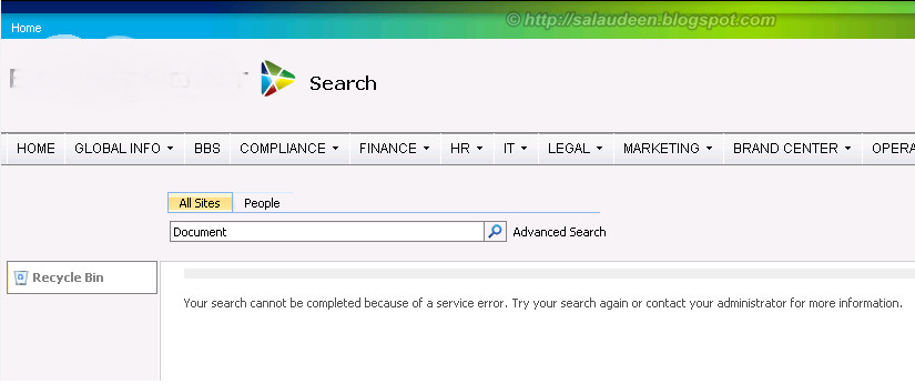 Your search cannot be completed because of a service error. Try your search again or contact your administrator for more information.