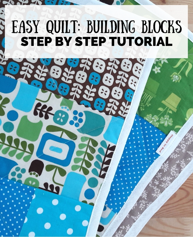 Building block quilt, free pattern: step by step tutorial | Happy in Red