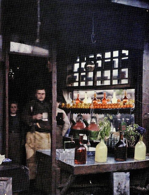 A shop window of a shop for selling lemonades and other refreshing drinks. It is part of the Bitola market built by Turks and Jews in the 16th century. - Bitola in 1913