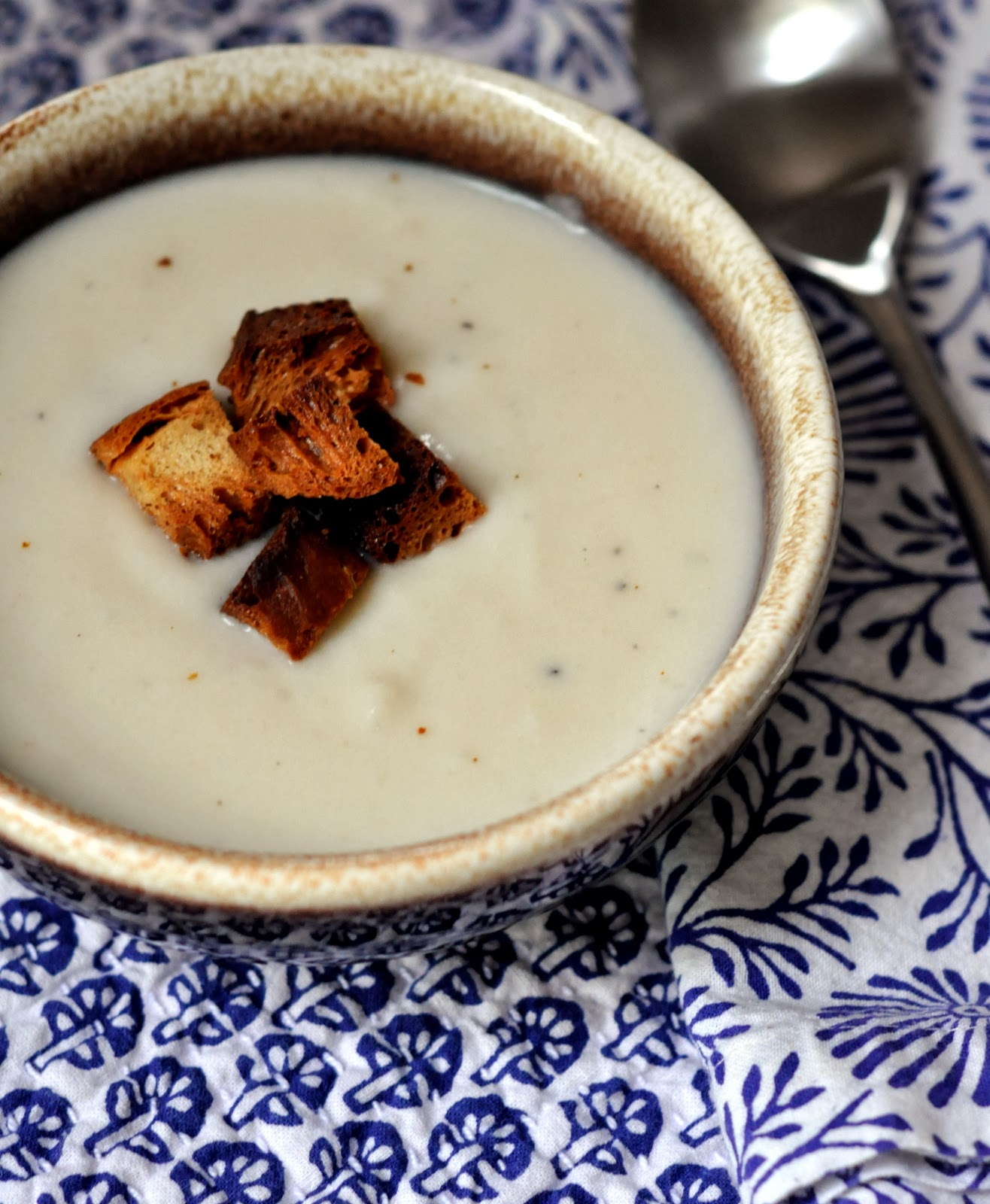 Creamed Cauliflower Soup with Homemade Croutons | Taste As You Go