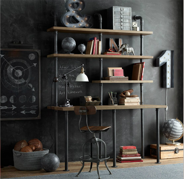 Industrial vibe in children's room Restoration Hardware