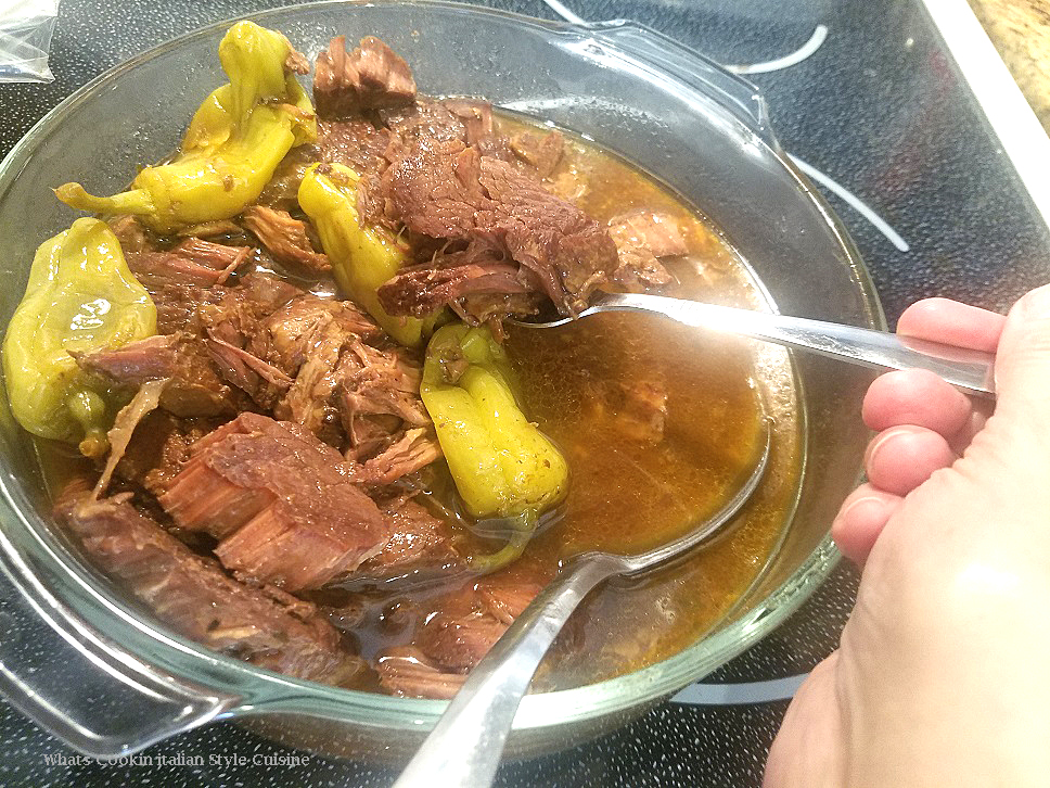 this is a pot roast using london broil beef and slow cooking it in a slow cooker for 10 hours. The beef has peppers, butter and makes a delicious au jus.