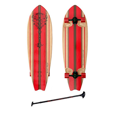 "Kahuna Creations SHAKA SURF 46"" COMPLETE STAND UP PADDLE STREET SKATEBOARD AND PADDLE 46"""