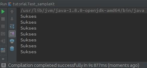 Output hasil dari Looping menggunakn for loop