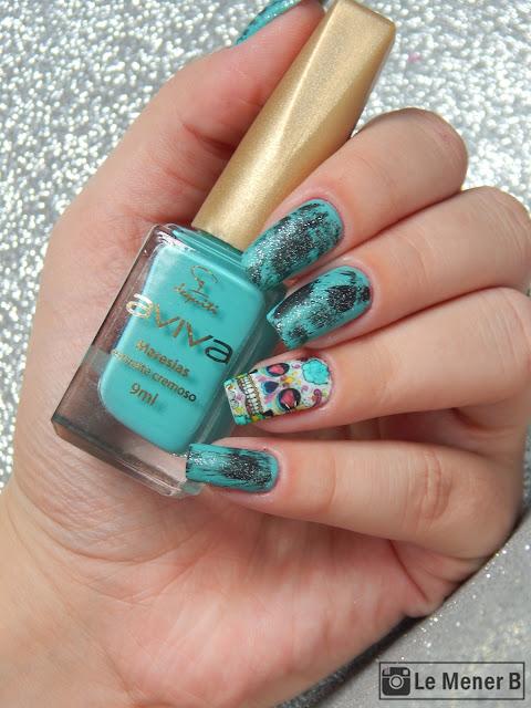 caveira mexicana nail art