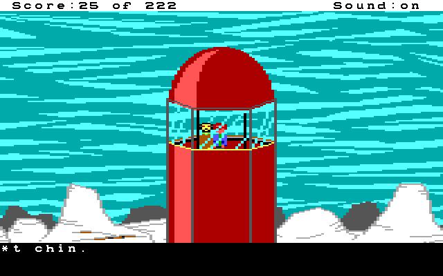 Escena en una torre. En la parte baja de la pantalla hay un cuadro de texto.
