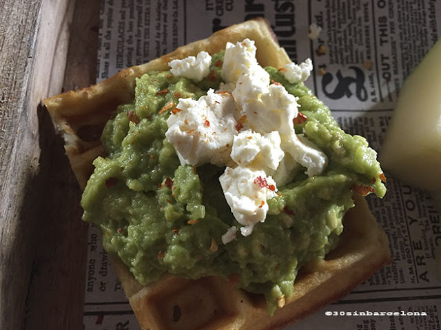 Avocado waffle in Alsur cafe, Barcelona