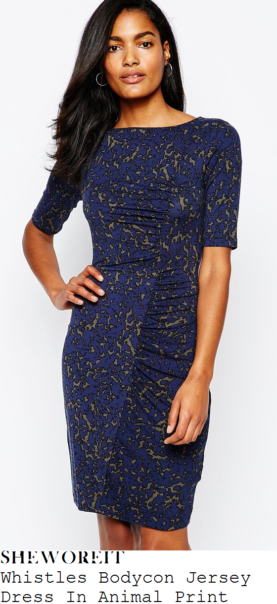 holly-willoughby-whistles-navy-blue-and-khaki-green-animal-print-bodycon-jersey-dress