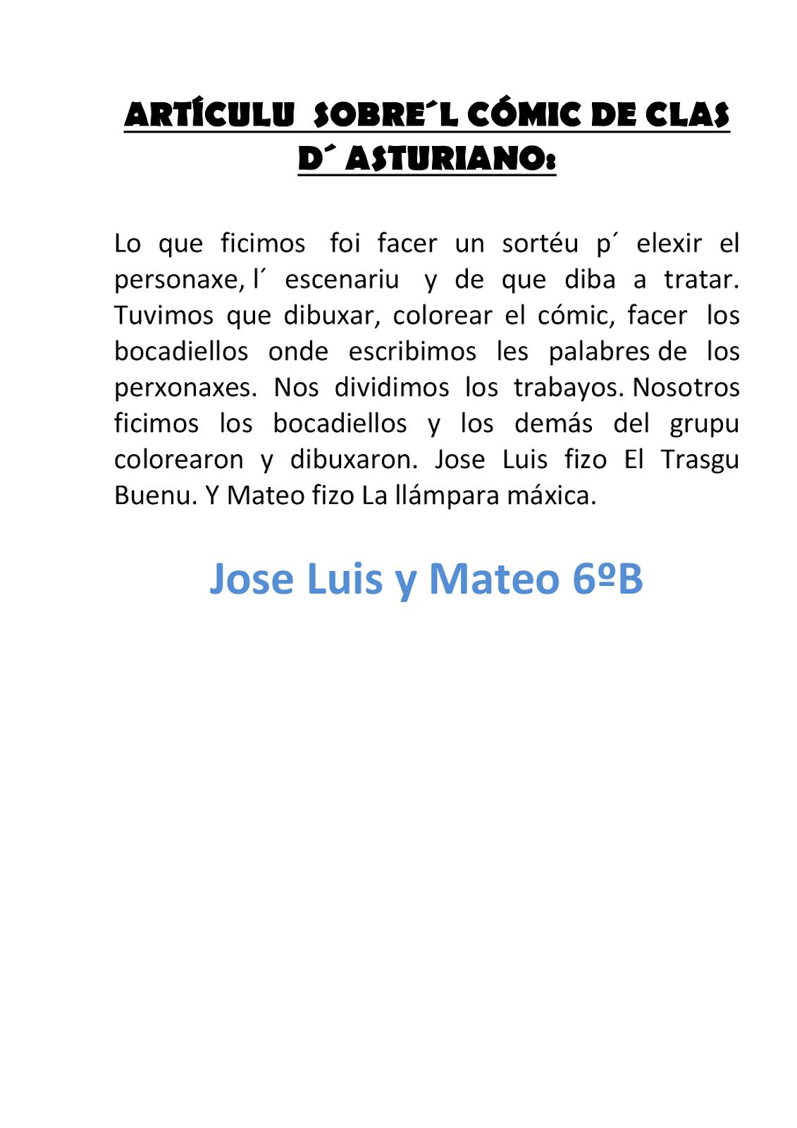 El Bernardín: ARTÍCULOS DE LA CLASE DE 6º B