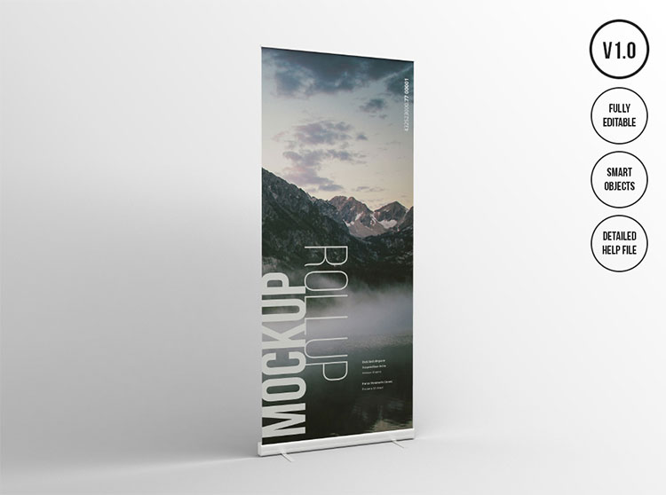 Roll Up Presentation Banner Mockup