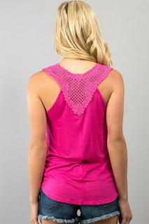pink crochet back tank