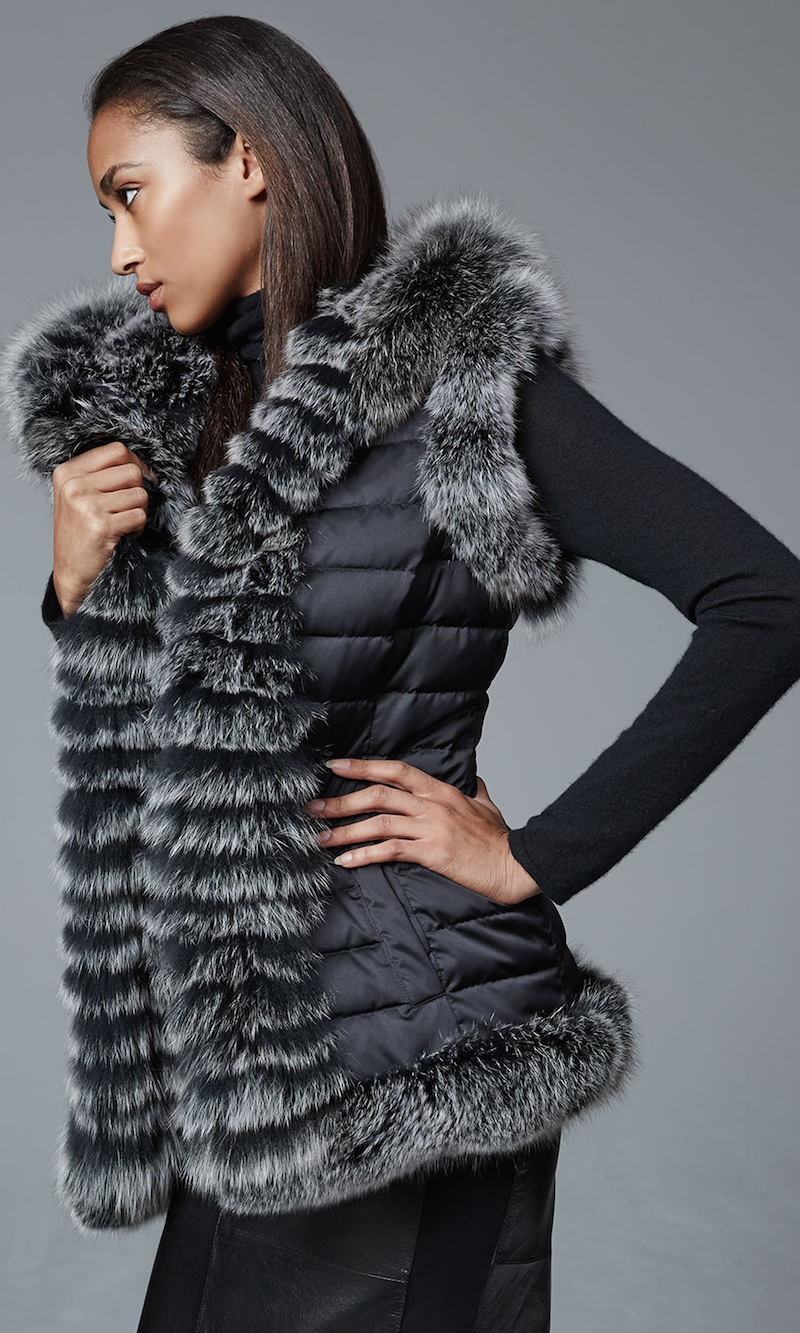Belle Fare Reversible Fur-Trim Vest with Hood