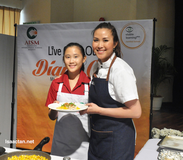 Australia Masterchef Winner 2017, Diana Chan with a student of AISM