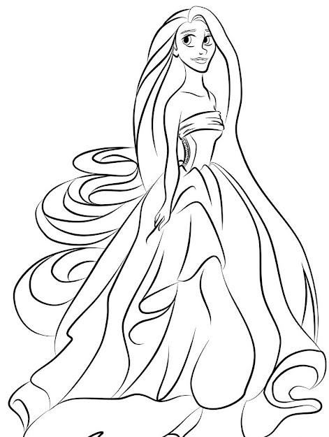Easy To Color Tangled Coloring Pages Girls