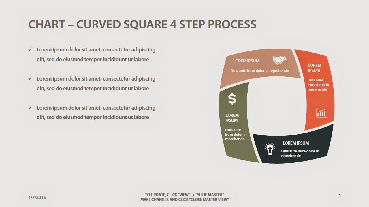 Slidey Store Process Flow Diagram Keynote Curved Square 4 Step Powerpoint