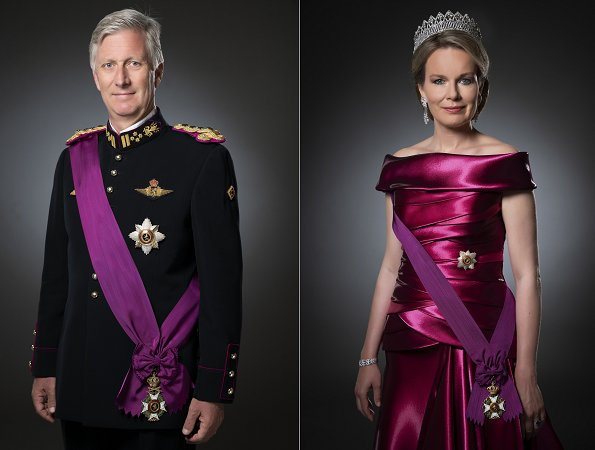 On the occasion of King's Day (Koningsdag), new official photos of Belgian King Philippe and Queen Mathilde. Diamond Tiara, satin gown