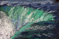 Thumbnail sketch of Niagara fall using soft pastels by Manju Panchal