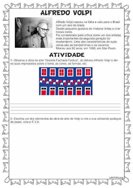 Atividade Artes Alfredo Volpi Fundamental I