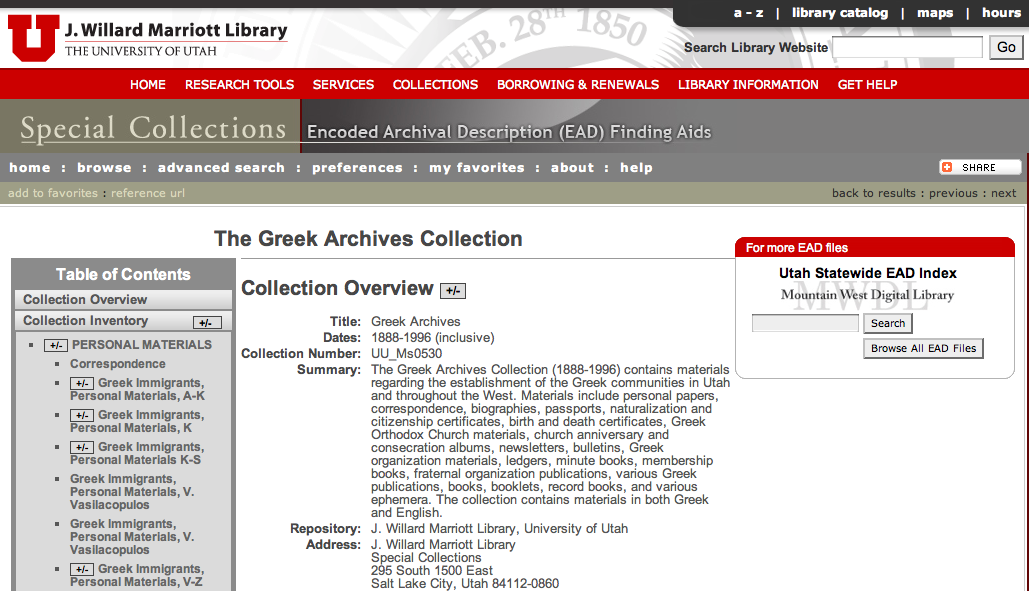 The Greek Archives Collection - University of Utah, Marriott