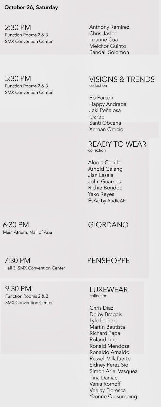 Philippine Fashion Week Spring Summer 2014 Schedules and