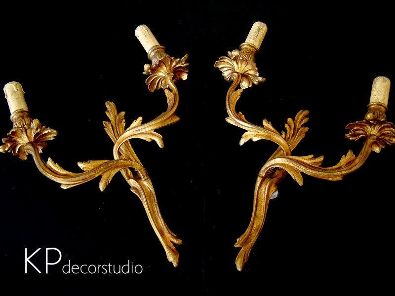 Apliques de bronce antiguos. Tienda de lámparas vintage en valencia