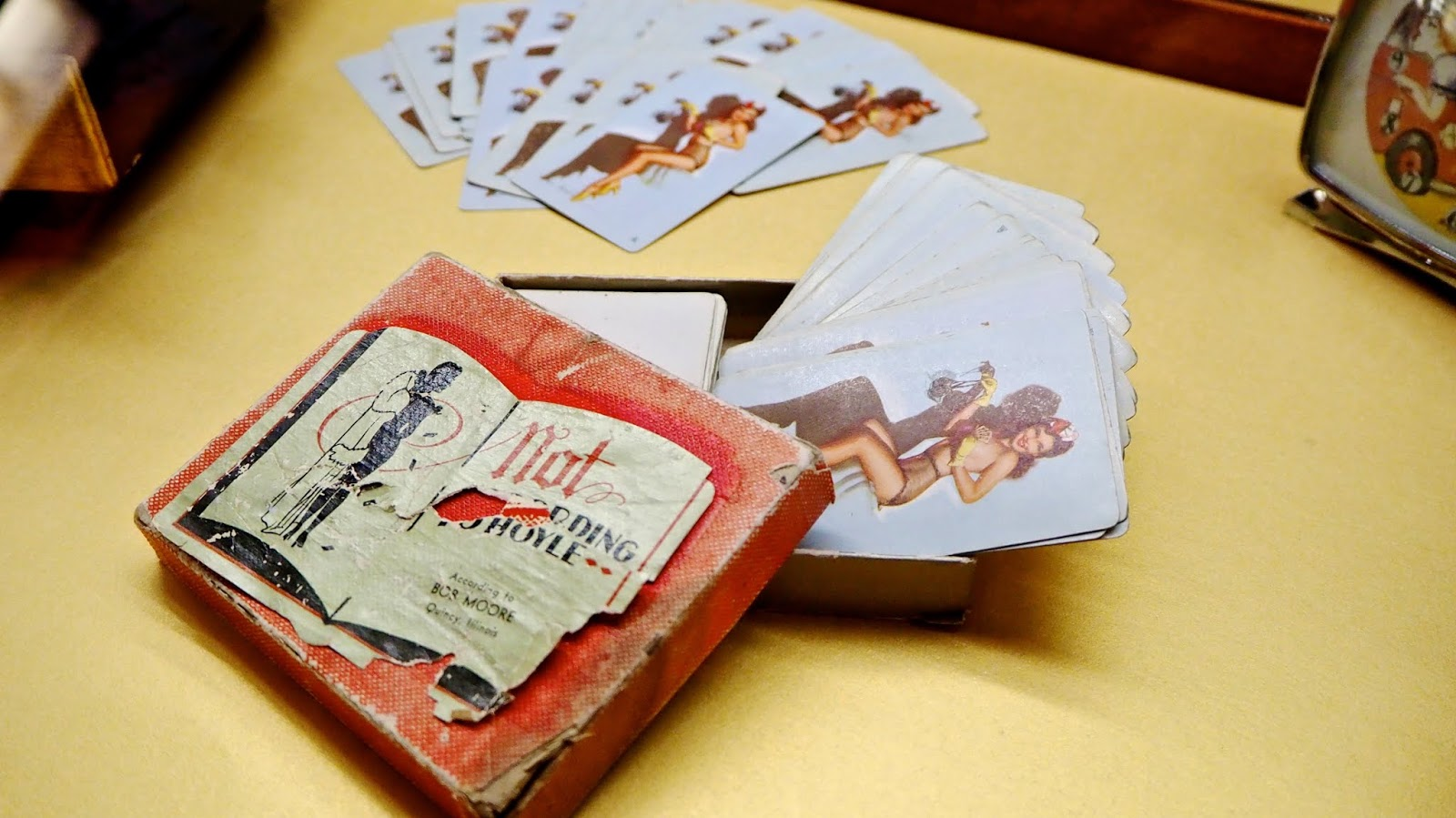 pin-up girl playing cards