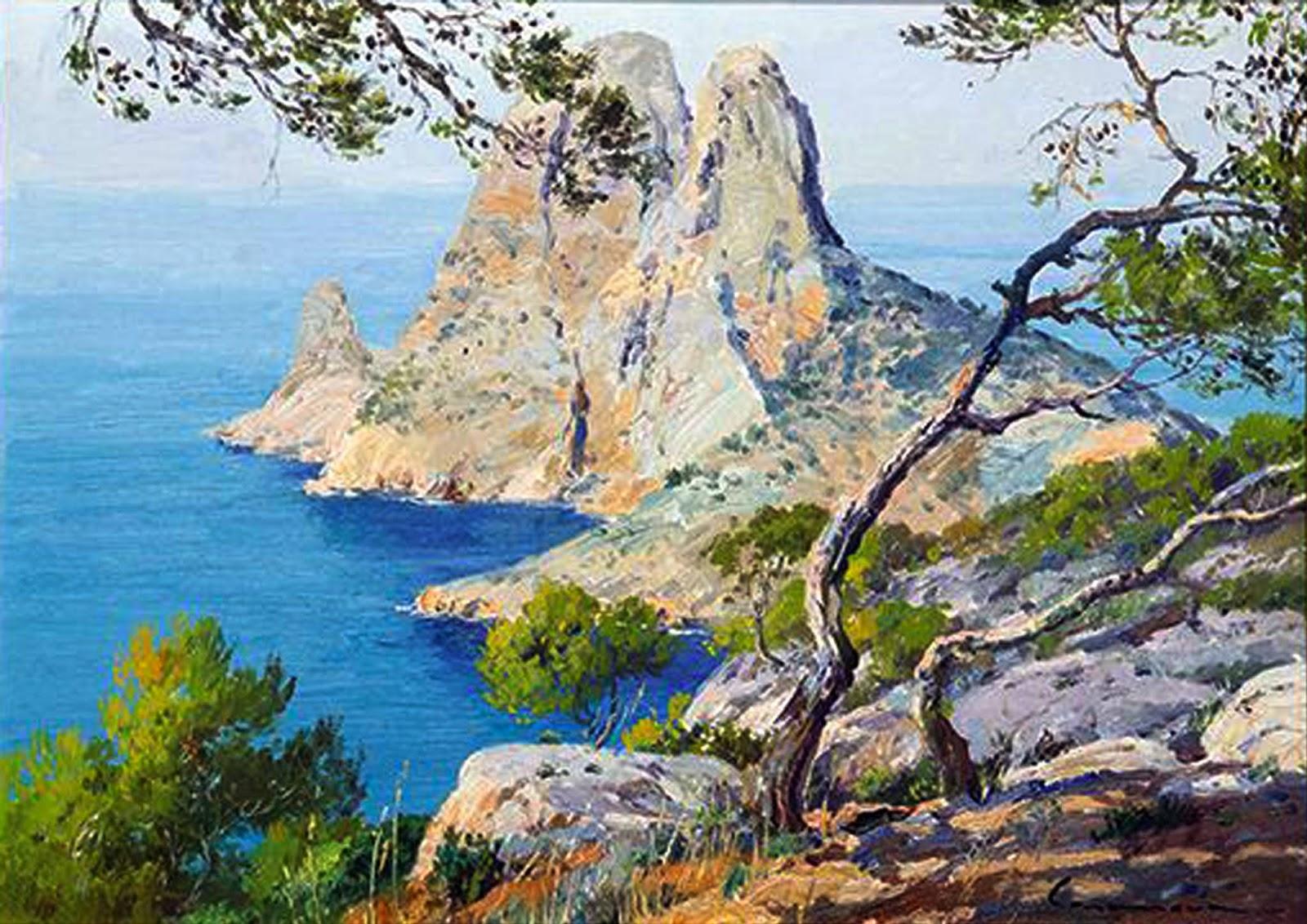 José Casanova Luján, Cala de Mallorca, Mallorca en Pintura, Mallorca pintada, Paisajes de Mallorca, José Casanova, Pintor José Casanova