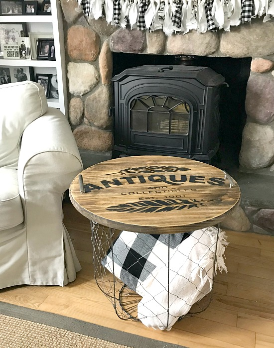 Tray on basket as side table in front of fire place