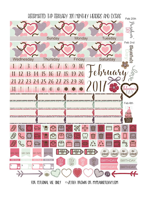 Reformatted February 2017 Monthly Headers & Extras for the Classic Happy Planner from myplannerenvy.com