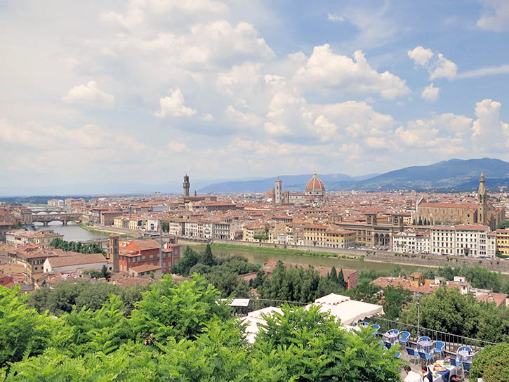 Piazzale Michelangelo in Florence looks over the city