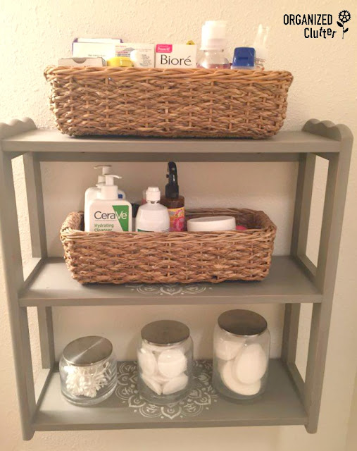 Thrift Shop Makeover: Upcycled Bathroom Storage organizedclutter.net