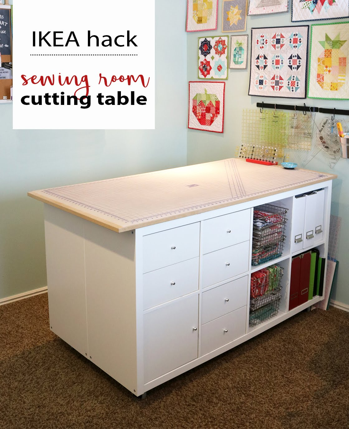 A Bright Corner Diy Sewing Room Cutting Table Ikea Hack