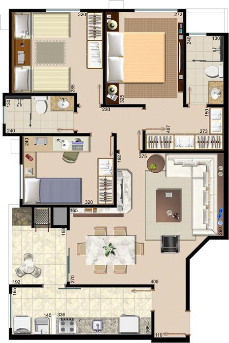 PLANO DE CASA PEQUEÑA DE UN PISO CON TRES DORMITORIOS Home Plans - Plan Maison Sweet Home 3d