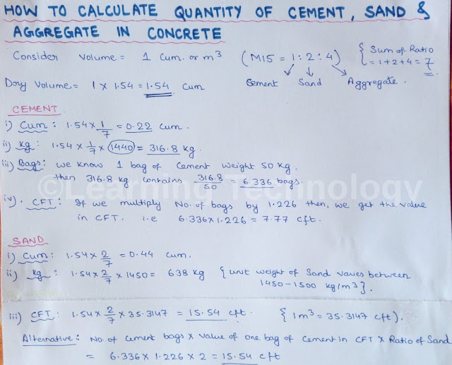 How To Calculate Cement Sand And Aggregate Quany In