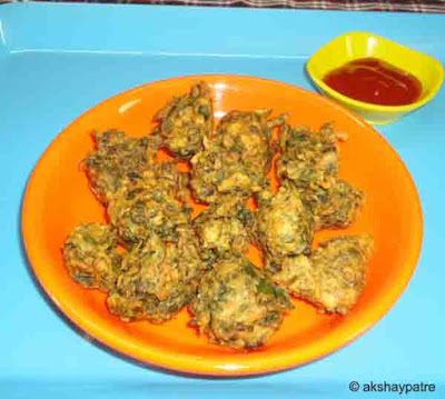 Palak pakoda ready to serve