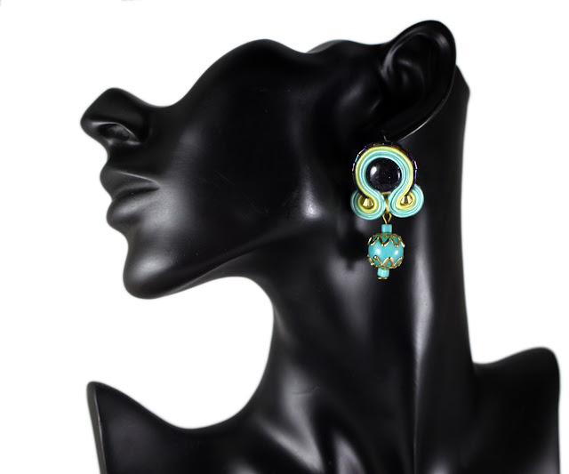 tropical summer colours, soutache earrings, small, handmade colourful jewelry