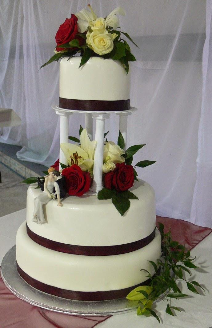 Traditional Burgundy And White Wedding Cake With Pillars