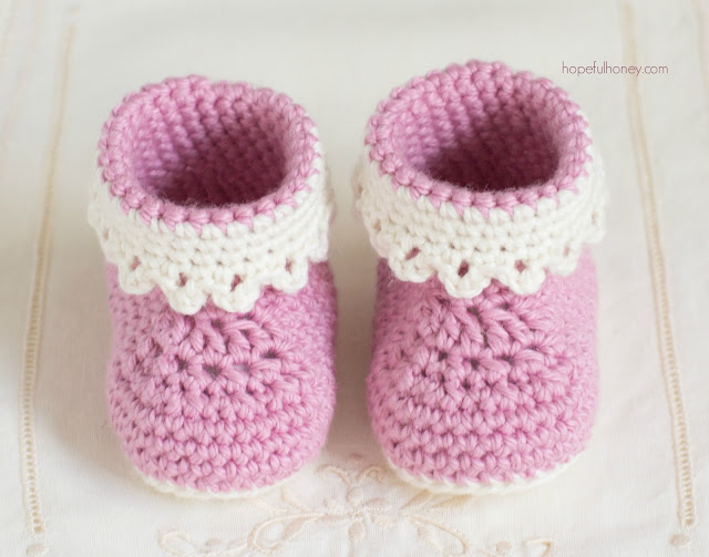 Free Crochet Patterns Baby Booties Mary Janes : Hopeful Honey Craft, Crochet, Create: Pink Lady Baby ...