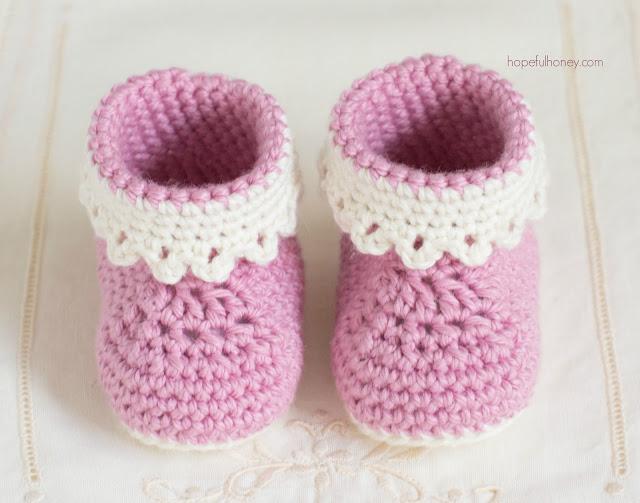 Free Pattern Crochet Newborn Booties : Hopeful Honey Craft, Crochet, Create: Pink Lady Baby ...