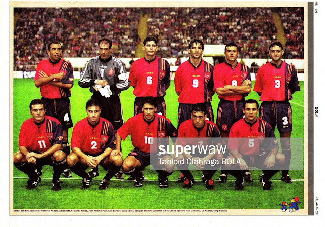 SPAIN FOOTBALL TEAM SQUAD 1997