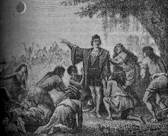 Những người thổ dân Jamaica hoảng loạn cầu xin Columbus biến Mặt Trăng trở lại như cũ khi Nguyệt thực toàn phần diễn ra. Hình ảnh: Camille Flammarion.