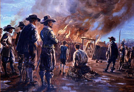 Bacon burning Jamestown to the ground