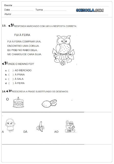 Confira uma Avaliação Diagnóstica indicada para alunos do primeiro ano do ensino fundamental pronta para imprimir com vários desenhos para colorir.