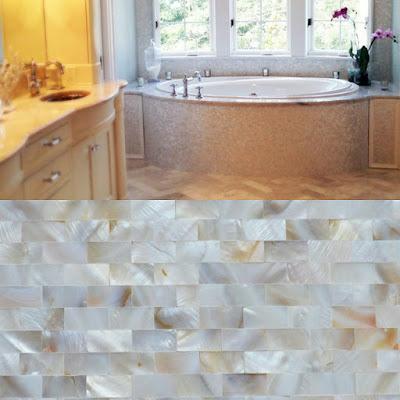 mother of pearl tile shower liner wall backsplash rectangle bathroom subway shell mosaic tiles