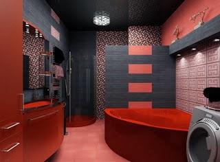 decoración baño negro y rojo