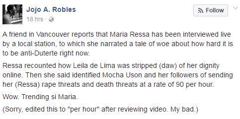 Rappler CEO Maria Ressa Pointed Out That Every Minute 90 Duterte Supporters Wants To Kill And Rape Her!