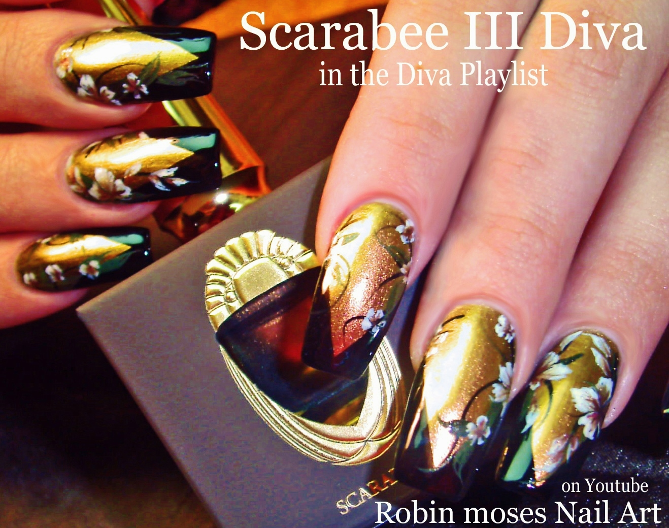 Nail Art by Robin Moses: Gold and Black Flower Diva Nails up today ...