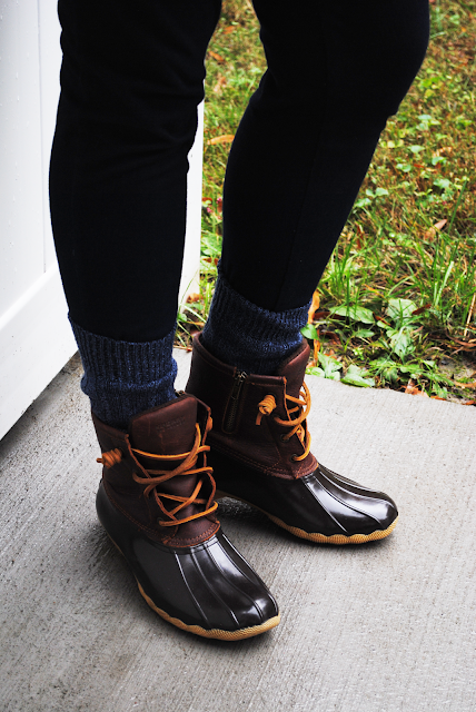 Plaid + Herringbone + Duck Boots ; J. Crew herringbone vest, plaid flannel shirt, jeggings, Sperry Saltwater duck boots, camp socks
