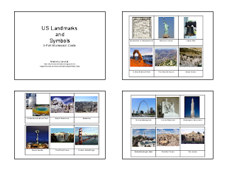 http://homeschoolden.com/2011/07/26/us-landmarks-and-symbols-free-3-part-montessori-cards/